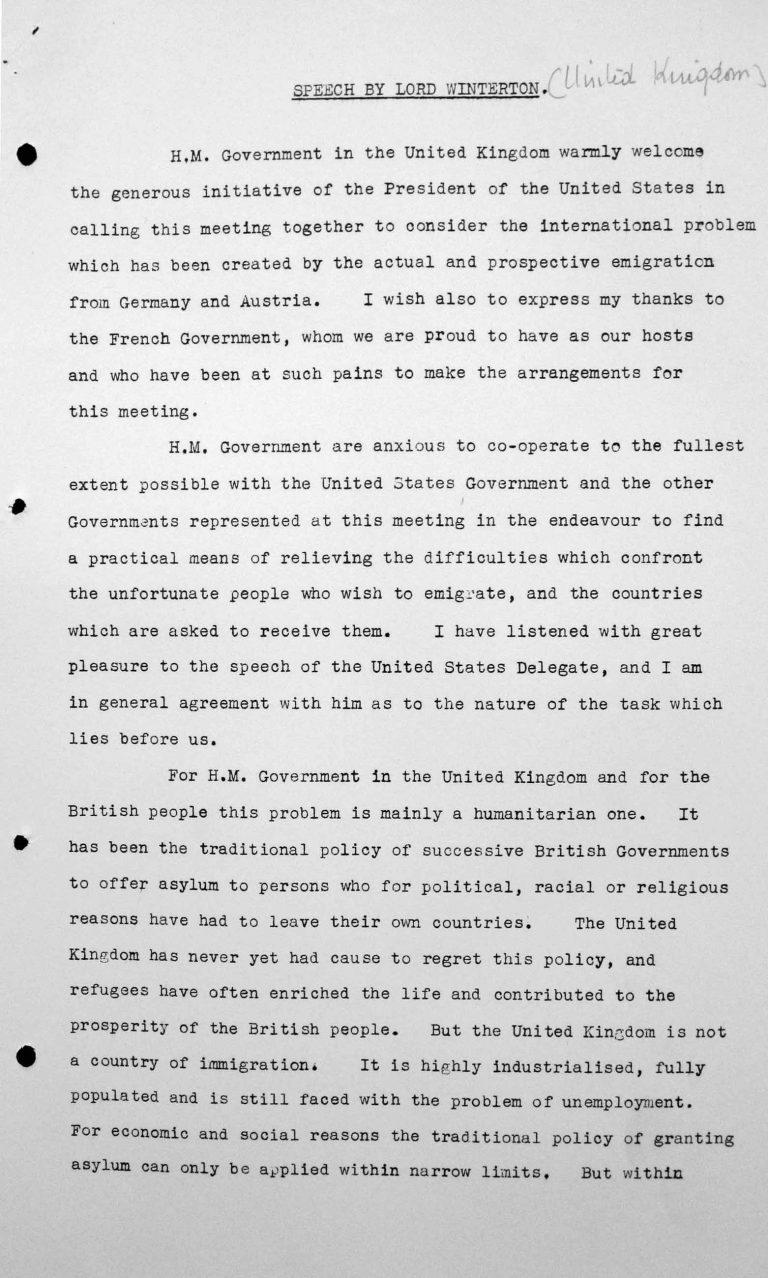 Ansprache von Lord Winterton in der öffentlichen Sitzung am 6. Juli 1938, 16 Uhr, S. 1/7 Franklin D. Roosevelt Library, Hyde Park, NY