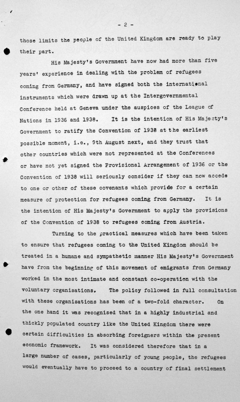 Ansprache von Lord Winterton in der öffentlichen Sitzung am 6. Juli 1938, 16 Uhr, S. 2/7 Franklin D. Roosevelt Library, Hyde Park, NY