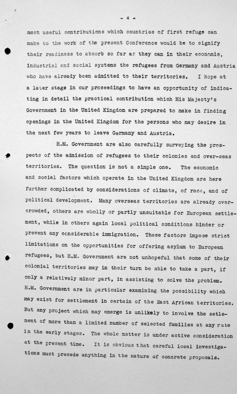 Speech by Lord Winterton in the public session on July 6, 1938, 4pm, p. 4/7 Franklin D. Roosevelt Library, Hyde Park, NY