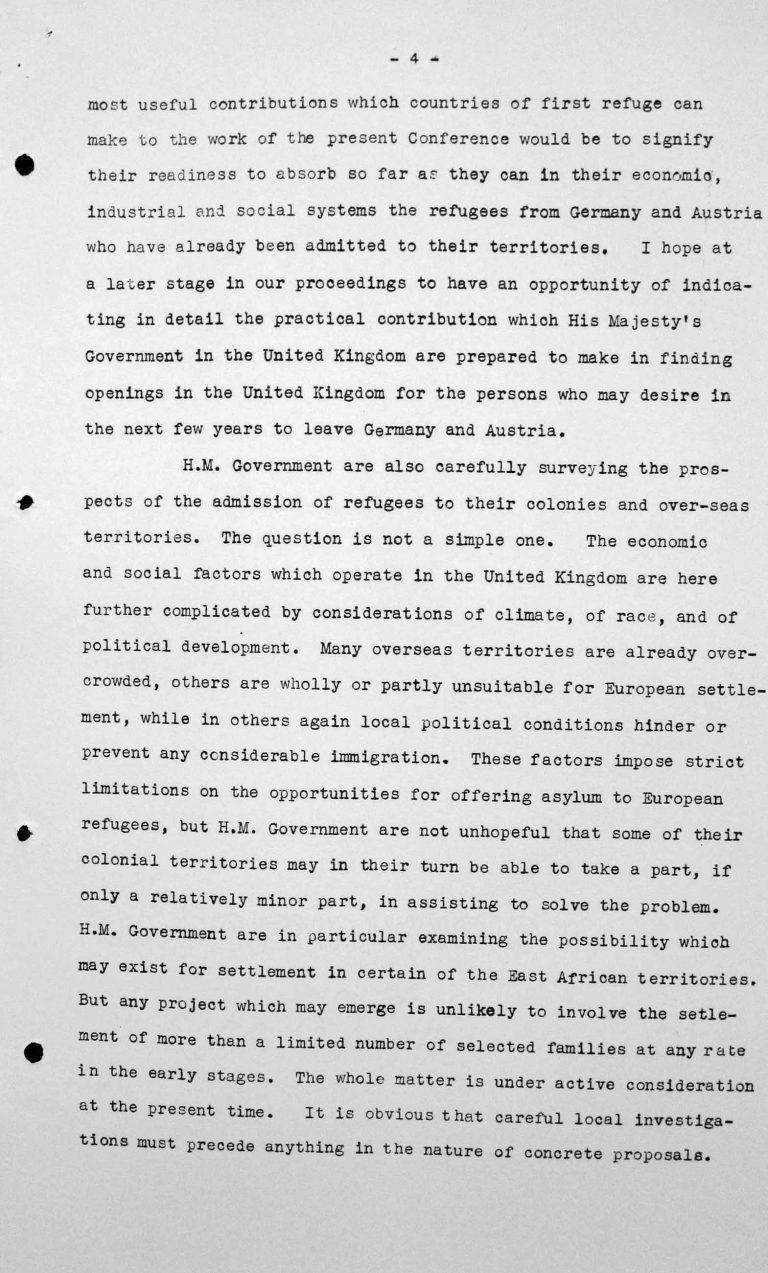 Ansprache von Lord Winterton in der öffentlichen Sitzung am 6. Juli 1938, 16 Uhr, S. 4/7 Franklin D. Roosevelt Library, Hyde Park, NY