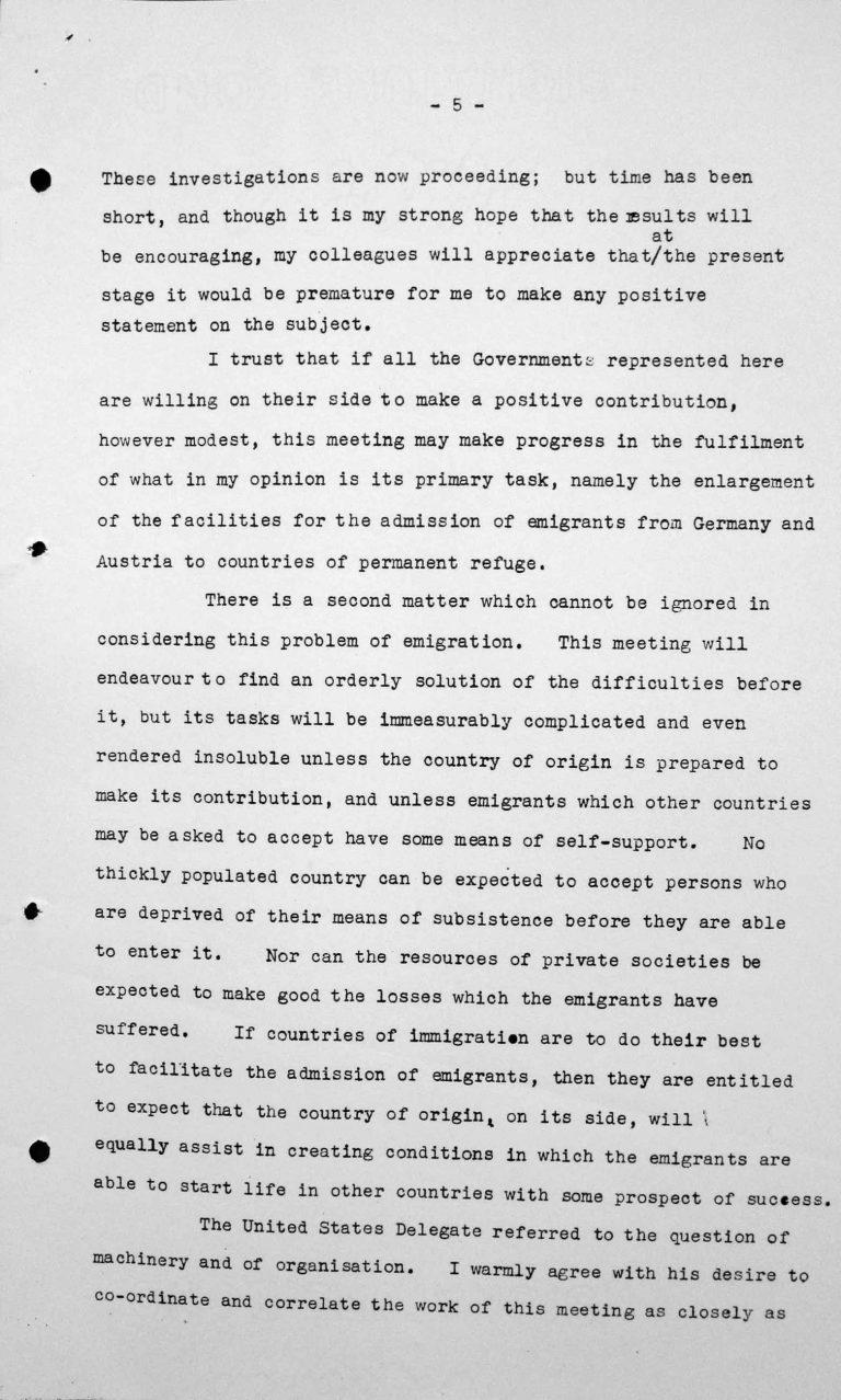 Ansprache von Lord Winterton in der öffentlichen Sitzung am 6. Juli 1938, 16 Uhr, S. 5/7 Franklin D. Roosevelt Library, Hyde Park, NY