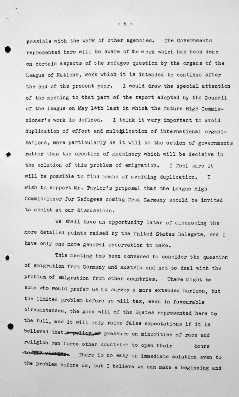 Speech by Lord Winterton in the public session on July 6, 1938, 4pm, p. 6/7 Franklin D. Roosevelt Library, Hyde Park, NY