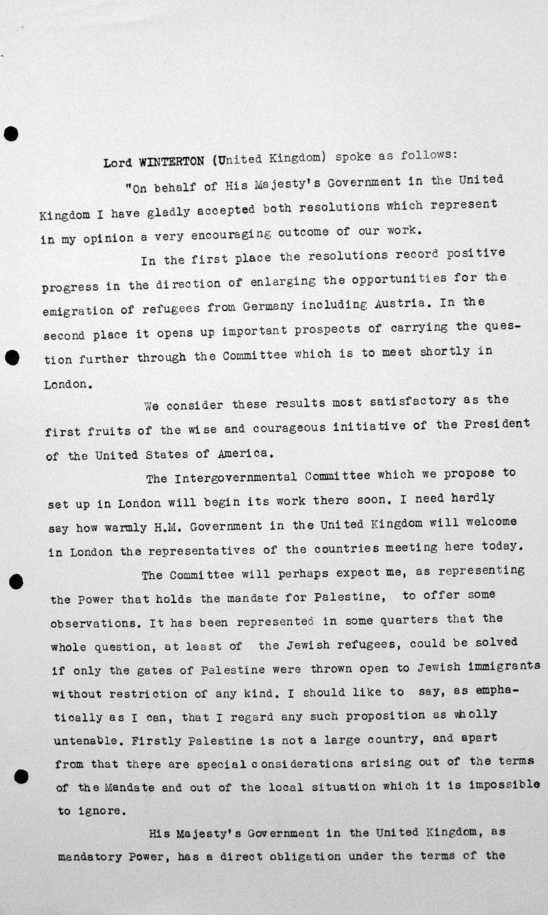 Schlussansprache von Lord Winterton in der öffentlichen Sitzung am 15. Juli 1938, 11 Uhr, S. 1/4 Franklin D. Roosevelt Library, Hyde Park, NY