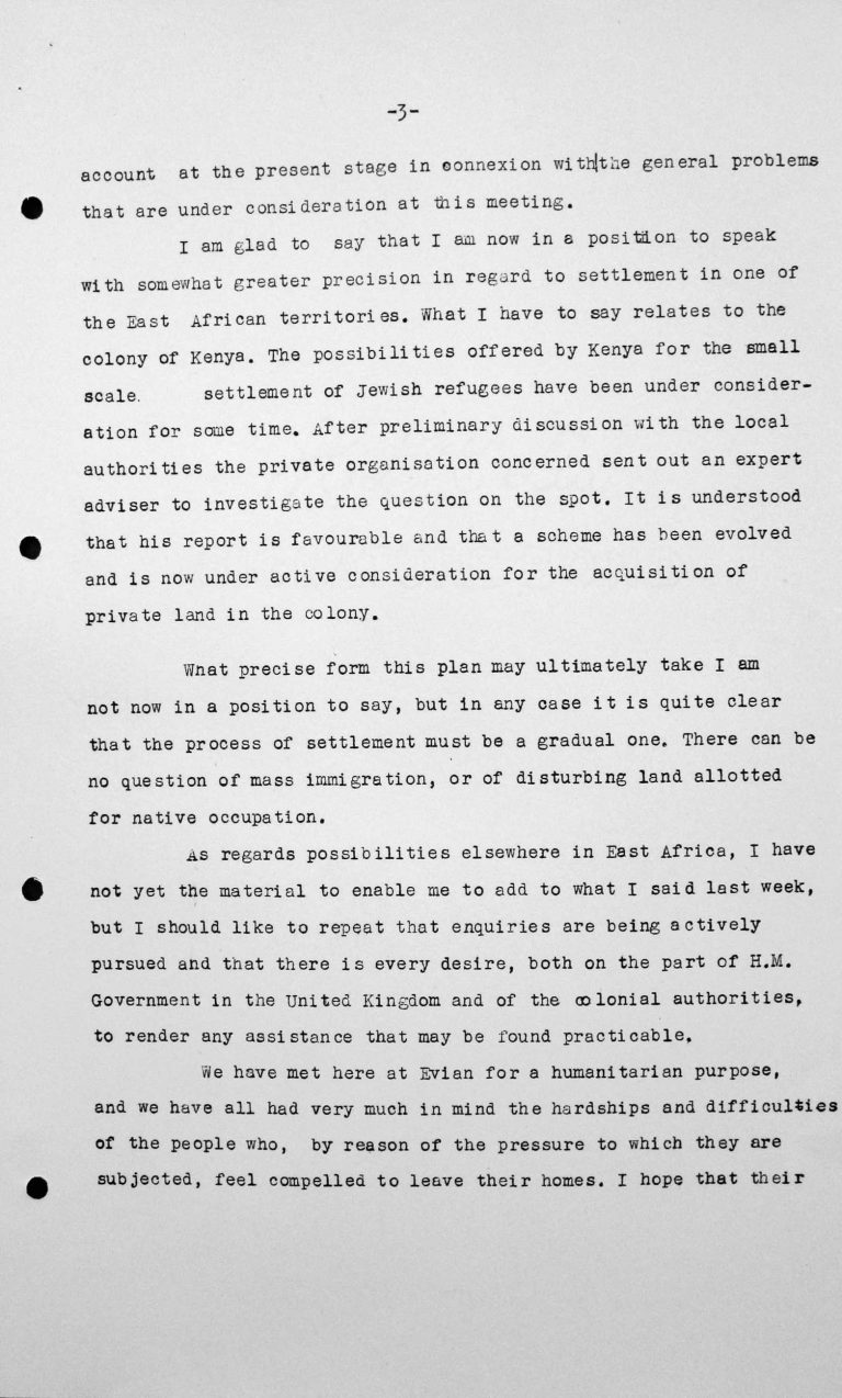 Closing address by Lord Winterton in the public session on July 15, 1938, 11am, p. 3/4 Franklin D. Roosevelt Library, Hyde Park, NY