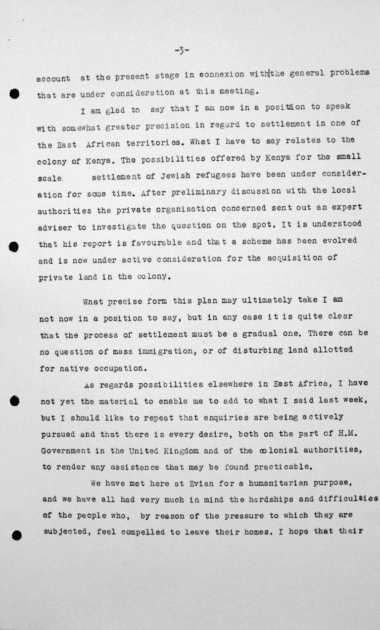 Schlussansprache von Lord Winterton in der öffentlichen Sitzung am 15. Juli 1938, 11 Uhr, S. 3/4 Franklin D. Roosevelt Library, Hyde Park, NY