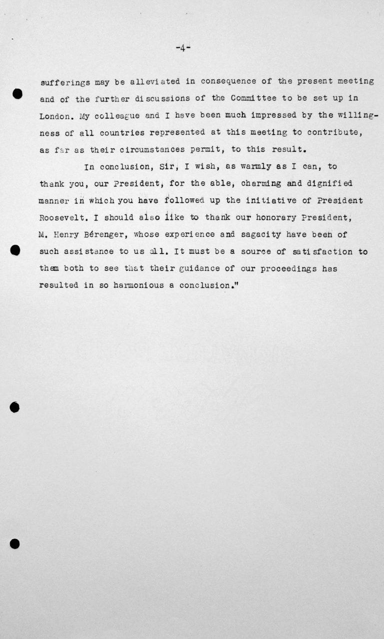 Schlussansprache von Lord Winterton in der öffentlichen Sitzung am 15. Juli 1938, 11 Uhr, S. 4/4 Franklin D. Roosevelt Library, Hyde Park, NY