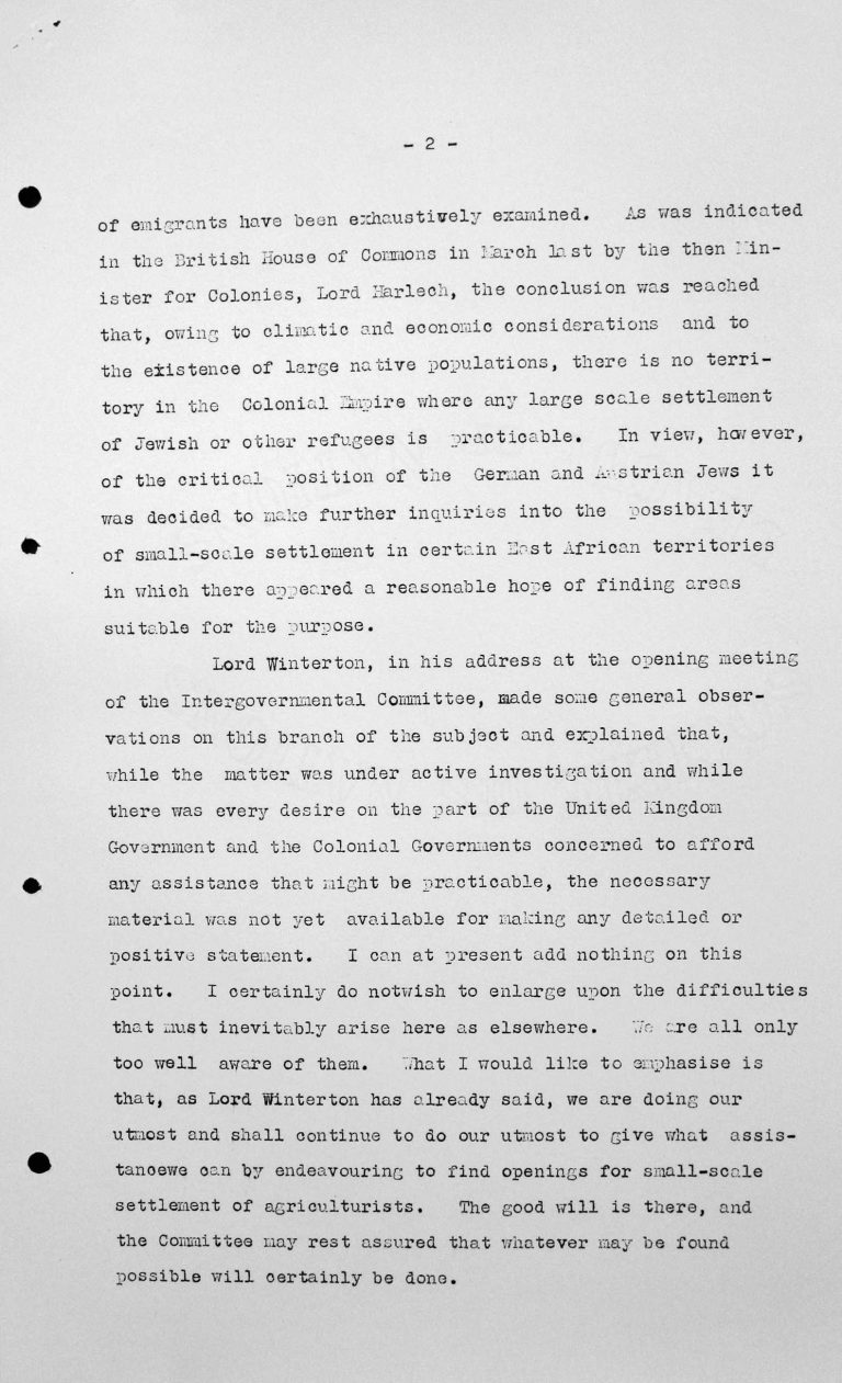 Statement for the Technical Sub-Committee by Sir John Shuckburgh on behalf of the British colonies, July 11, 1938, p. 2/2 Franklin D. Roosevelt Library, Hyde Park, NY