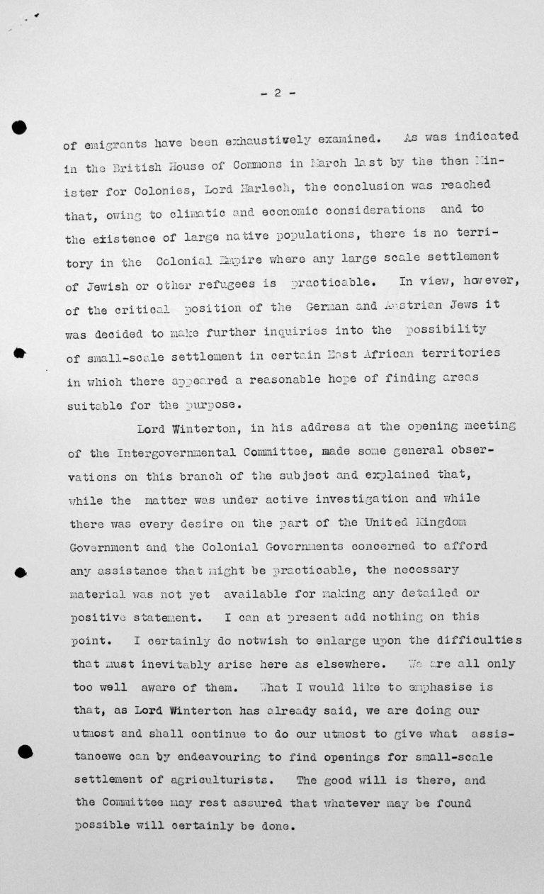 Stellungnahme für das Technische Unterkomitee von Sir John Shuckburgh im Namen der britischen Kolonien, 11. Juli 1938, S. 2/2 Franklin D. Roosevelt Library, Hyde Park, NY
