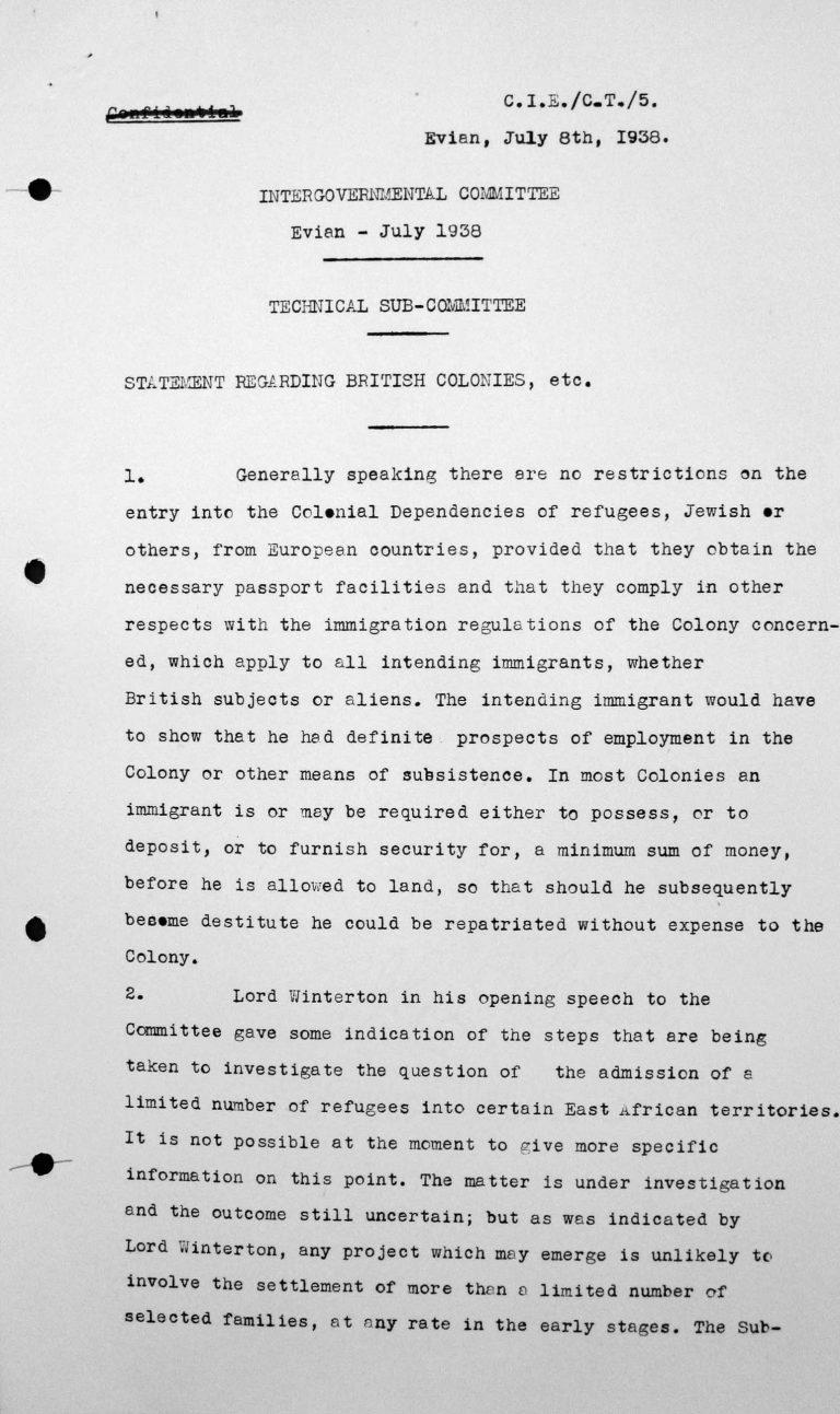 Stellungnahme für das Technische Unterkomitee betreffend britische Kolonien etc., 8. Juli 1938, S. 1/2 Franklin D. Roosevelt Library, Hyde Park, NY