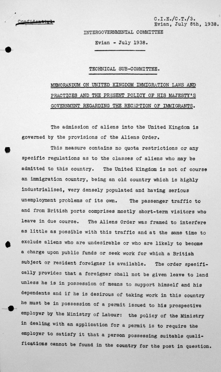 Memorandum for the Technical Sub-Committee on United Kingdom immigration laws and practices and the present policy of His Majesty's Government regarding the reception of immigrants, July 8, 1938, p. 1/3 Franklin D. Roosevelt Library, Hyde Park, NY
