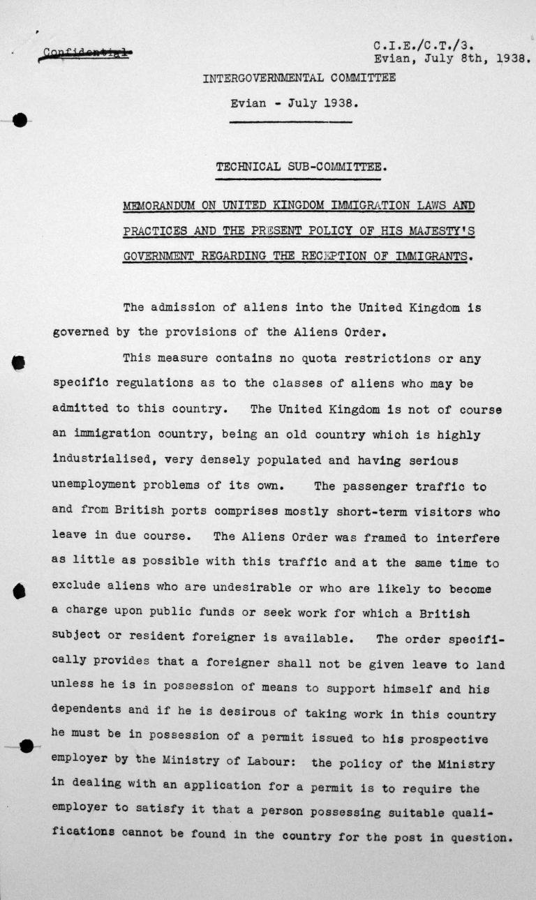 Denkschrift für das Technische Unterkomitee über die Einwanderungsgesetze des Vereinigten Königreichs und ihre Anwendung sowie die gegenwärtige Politik der Regierung Seiner Majestät hinsichtlich der Aufnahme von Einwanderern, 8. Juli 1938, S. 1/3 Franklin D. Roosevelt Library, Hyde Park, NY