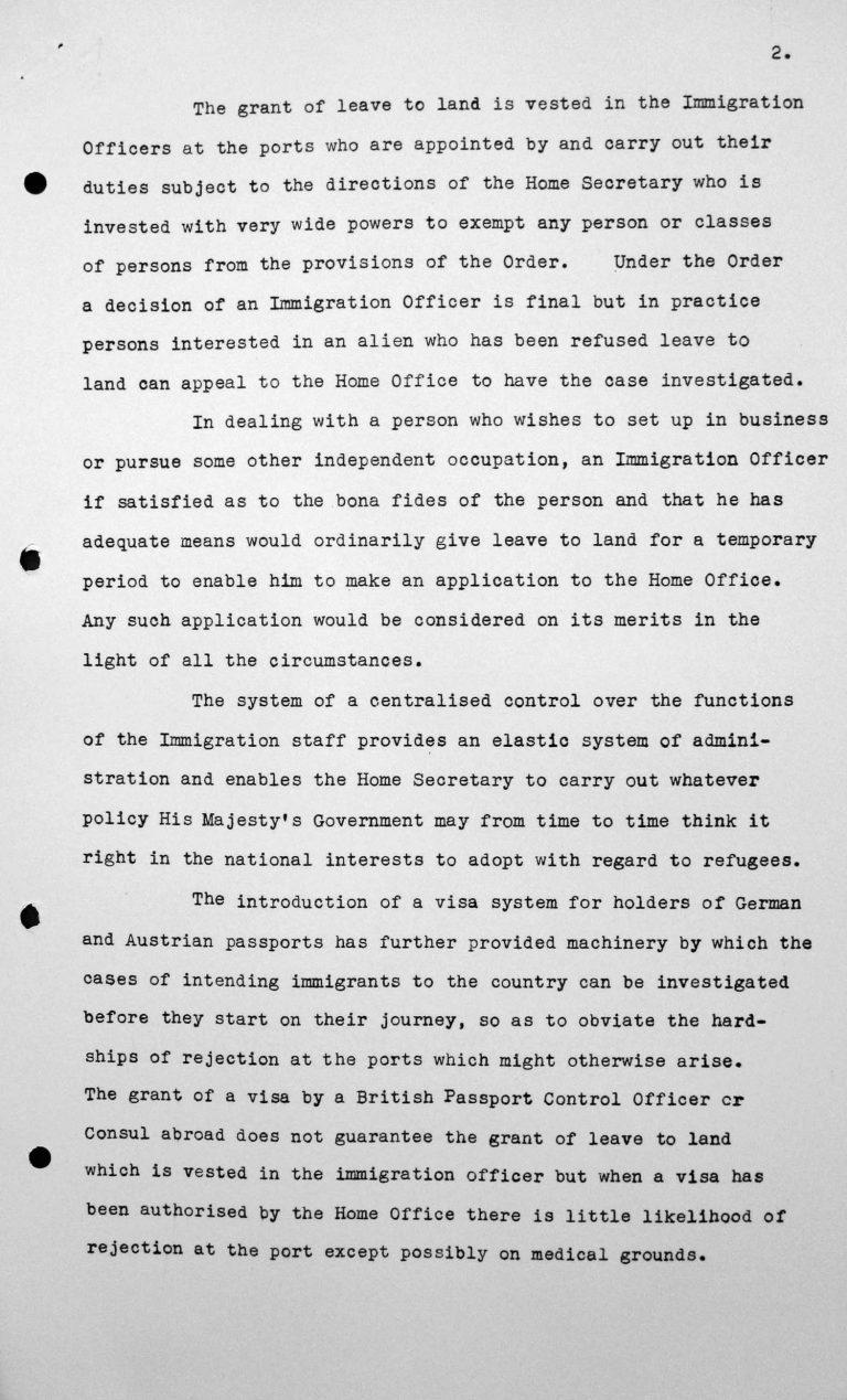 Denkschrift für das Technische Unterkomitee über die Einwanderungsgesetze des Vereinigten Königreichs und ihre Anwendung sowie die gegenwärtige Politik der Regierung Seiner Majestät hinsichtlich der Aufnahme von Einwanderern, 8. Juli 1938, S. 2/3 Franklin D. Roosevelt Library, Hyde Park, NY