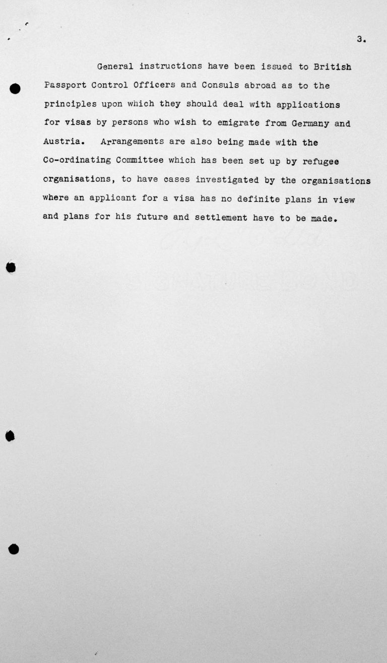 Memorandum for the Technical Sub-Committee on United Kingdom immigration laws and practices and the present policy of His Majesty's Government regarding the reception of immigrants, July 8, 1938, p. 3/3 Franklin D. Roosevelt Library, Hyde Park, NY