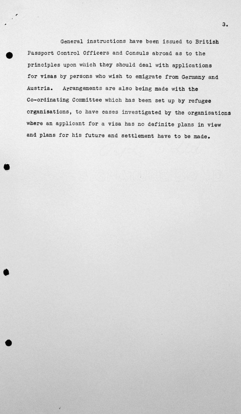 Denkschrift für das Technische Unterkomitee über die Einwanderungsgesetze des Vereinigten Königreichs und ihre Anwendung sowie die gegenwärtige Politik der Regierung Seiner Majestät hinsichtlich der Aufnahme von Einwanderern, 8. Juli 1938, S. 3/3 Franklin D. Roosevelt Library, Hyde Park, NY
