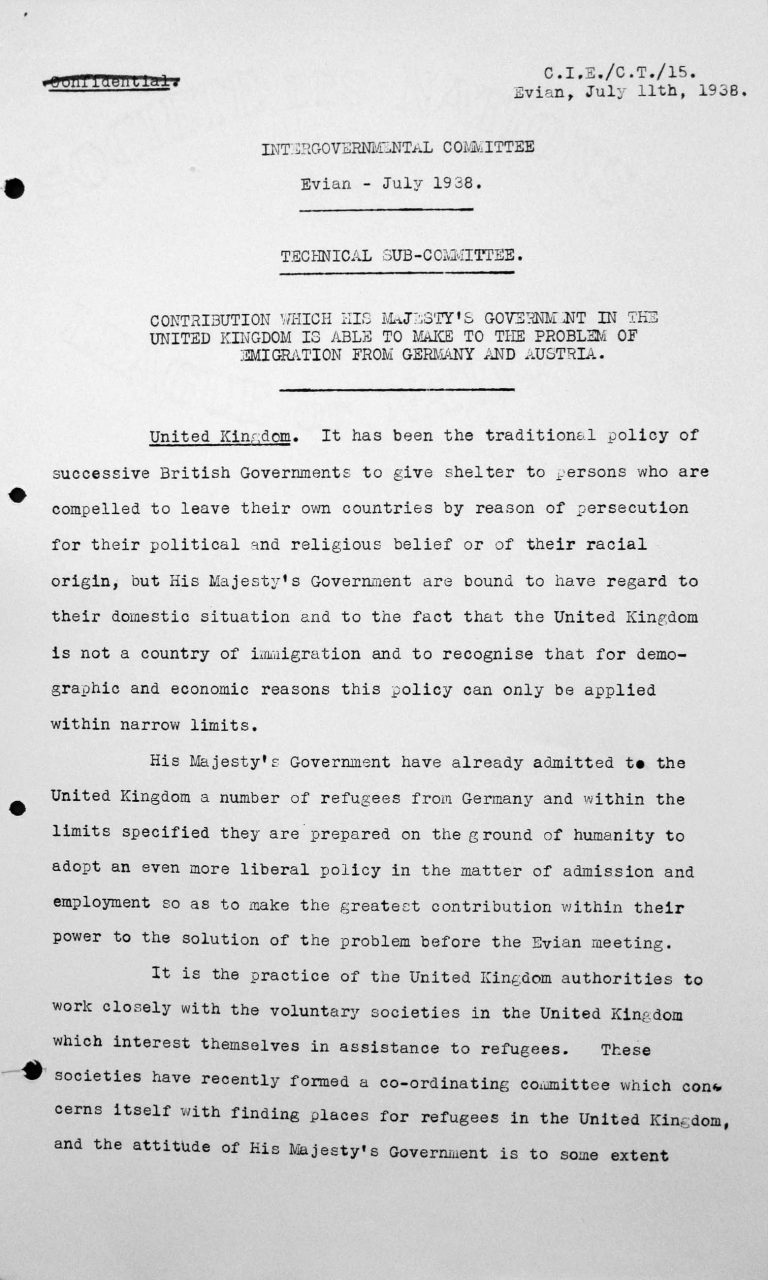 Denkschrift für das Technische Unterkomitee über den Beitrag, den die Regierung Seiner Majestät im Vereinigten Königreich zu leisten imstande ist zum Problem der Auswanderung aus Deutschland und Österreich, 11. Juli 1938, S. 1/3 Franklin D. Roosevelt Library, Hyde Park, NY