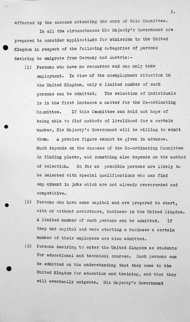 Denkschrift für das Technische Unterkomitee über den Beitrag, den die Regierung Seiner Majestät im Vereinigten Königreich zu leisten imstande ist zum Problem der Auswanderung aus Deutschland und Österreich, 11. Juli 1938, S. 2/3 Franklin D. Roosevelt Library, Hyde Park, NY