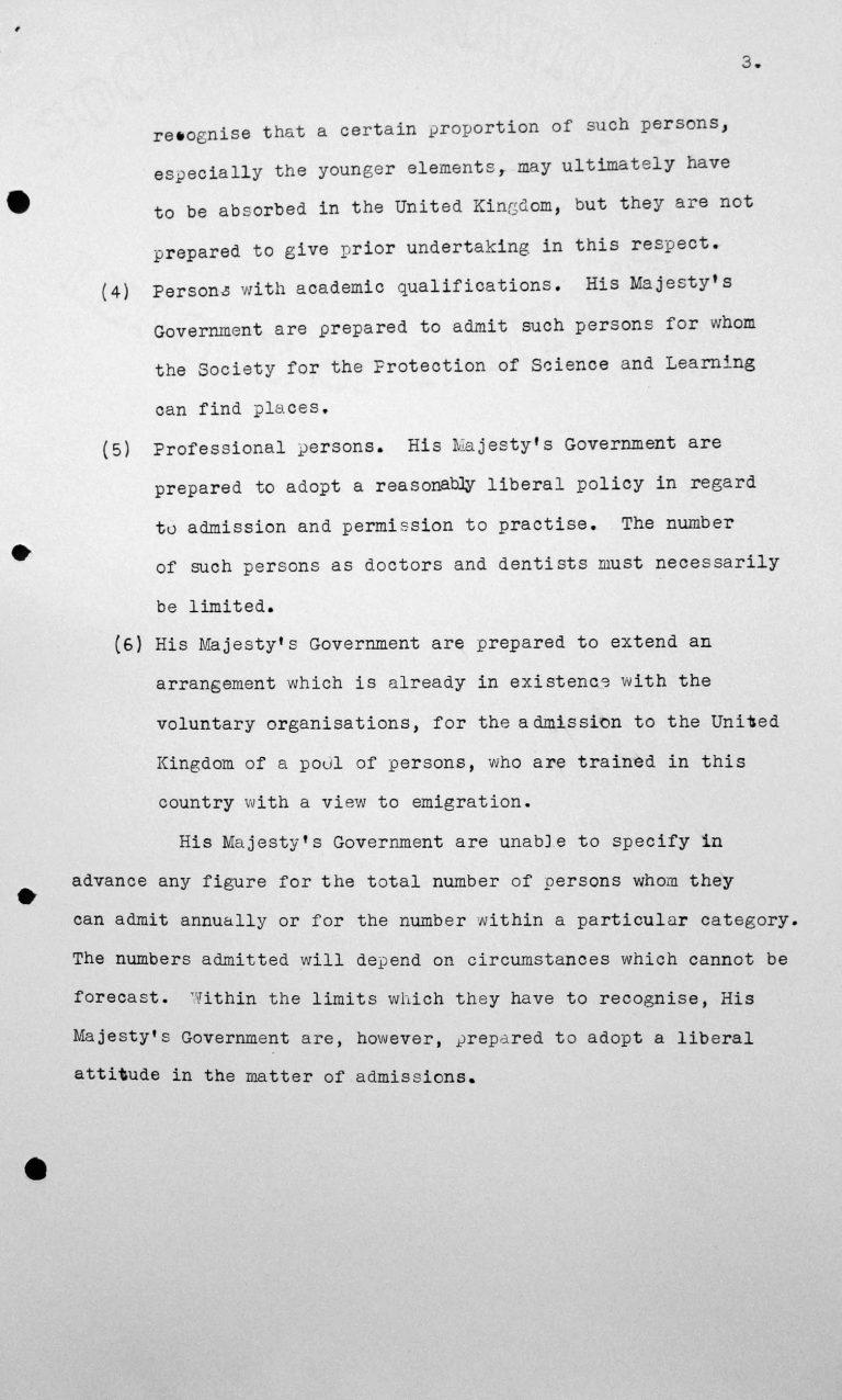 Denkschrift für das Technische Unterkomitee über den Beitrag, den die Regierung Seiner Majestät im Vereinigten Königreich zu leisten imstande ist zum Problem der Auswanderung aus Deutschland und Österreich, 11. Juli 1938, S. 3/3 Franklin D. Roosevelt Library, Hyde Park, NY
