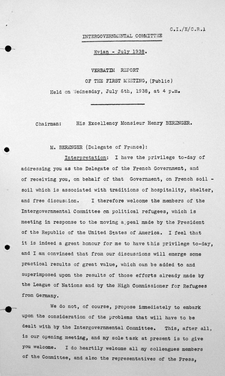 Welcome address by Henry Bérenger in the public session on July 6, 1938, 4pm, p. 1/4 Franklin D. Roosevelt Library, Hyde Park, NY
