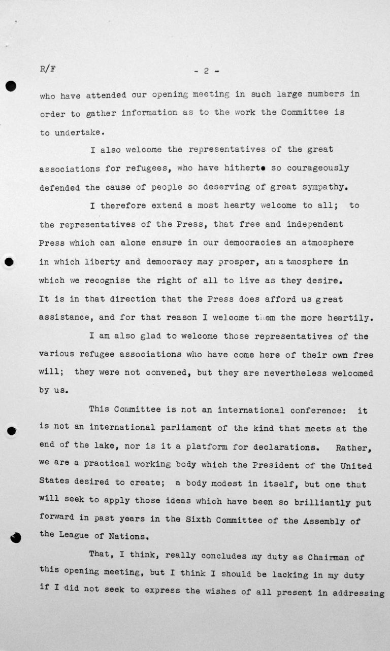 Welcome address by Henry Bérenger in the public session on July 6, 1938, 4pm, p. 2/4 Franklin D. Roosevelt Library, Hyde Park, NY