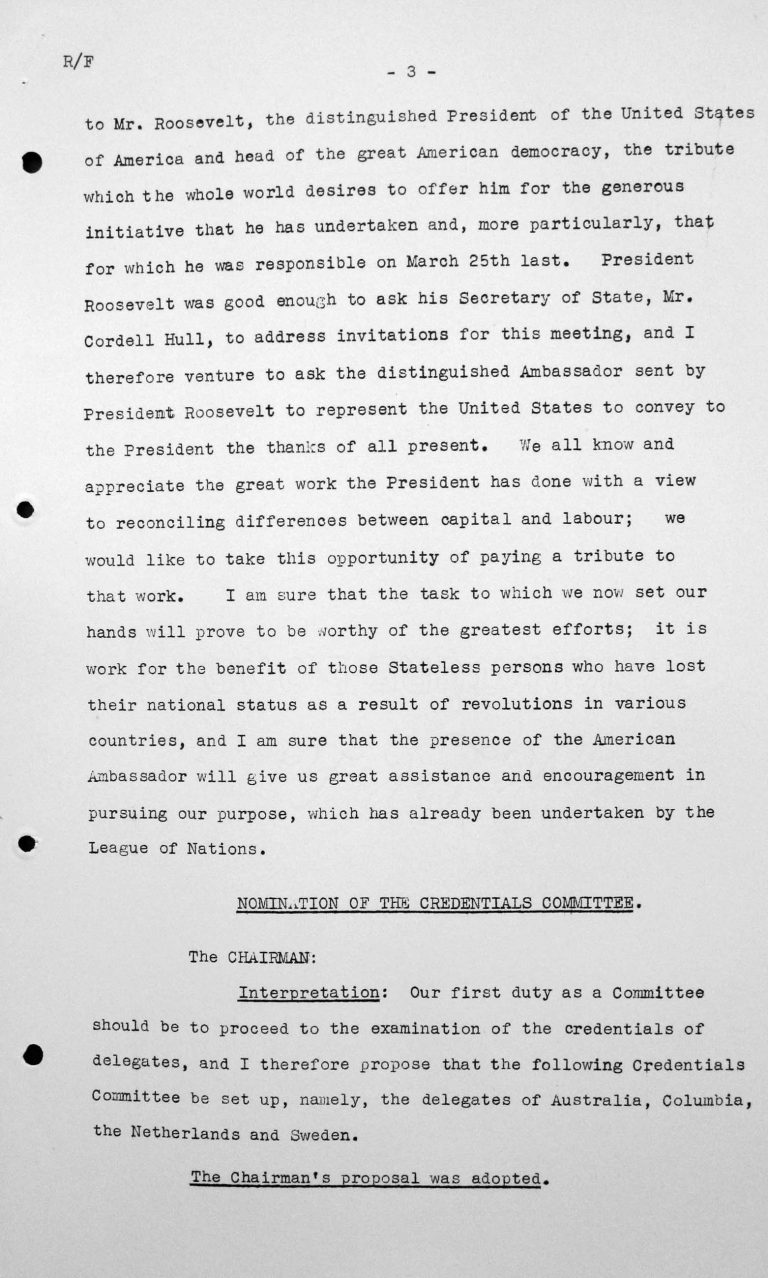 Welcome address by Henry Bérenger in the public session on July 6, 1938, 4pm, p. 3/4 Franklin D. Roosevelt Library, Hyde Park, NY