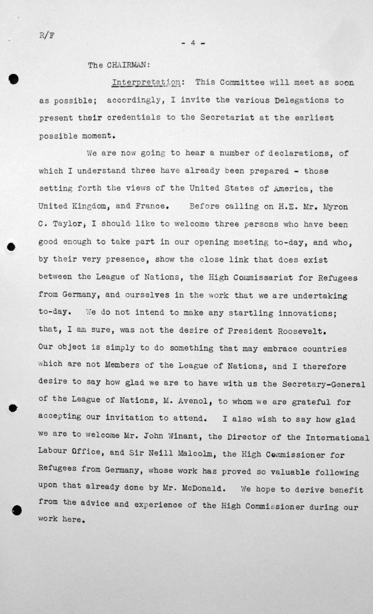 Welcome address by Henry Bérenger in the public session on July 6, 1938, 4pm, p. 4/4 Franklin D. Roosevelt Library, Hyde Park, NY
