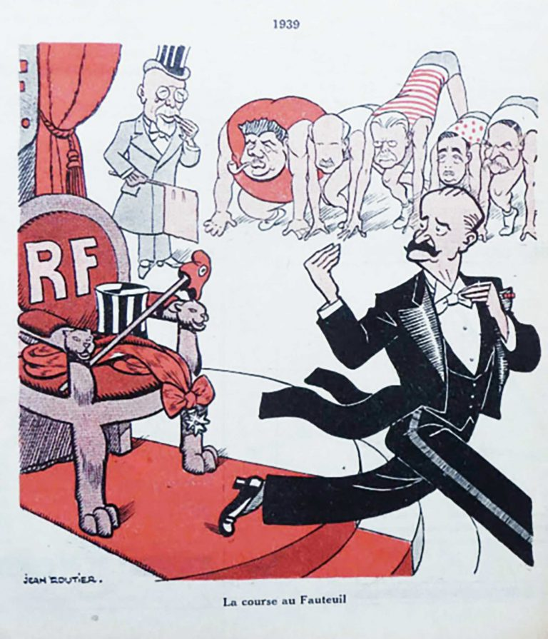 "Cartoon: ""La course au fauteuil"" (the race for the armchair) from the satirical magazine Cri de Paris of December 30, 1938 Third from right: Henry Bérenger. In 1938, the French media speculates about Bérenger's possible candidacy for president. But he has no such ambitions. Cartoon: Jean Routier / Bibliothèque historique de la ville de Paris"