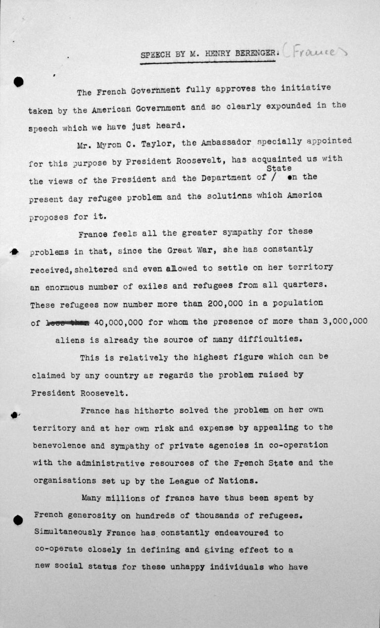 Statement by Henry Bérenger (France) in the public session on July 6, 1938, 4pm, p. 1/3 Franklin D. Roosevelt Library, Hyde Park, NY