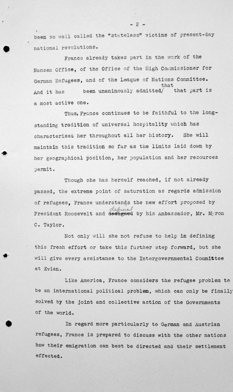 Statement by Henry Bérenger (France) in the public session on July 6, 1938, 4pm, p. 2/3 Franklin D. Roosevelt Library, Hyde Park, NY