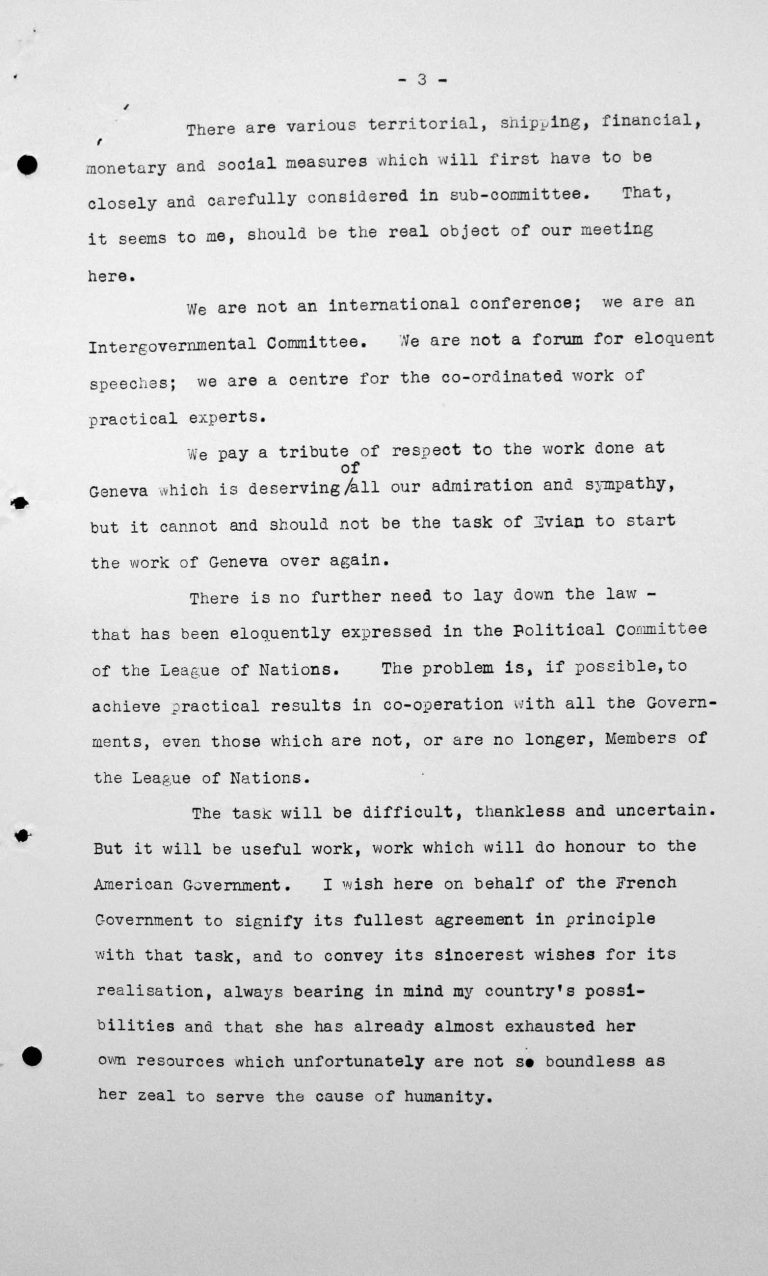 Statement by Henry Bérenger (France) in the public session on July 6, 1938, 4pm, p. 3/3 Franklin D. Roosevelt Library, Hyde Park, NY