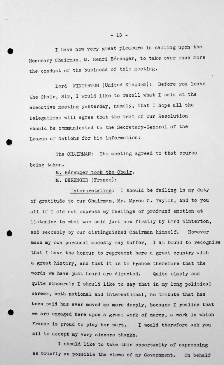 Closing Address by Henry Bérenger (France) in the public session on July 15, 1938, p. 1/6 Franklin D. Roosevelt Library, Hyde Park, NY