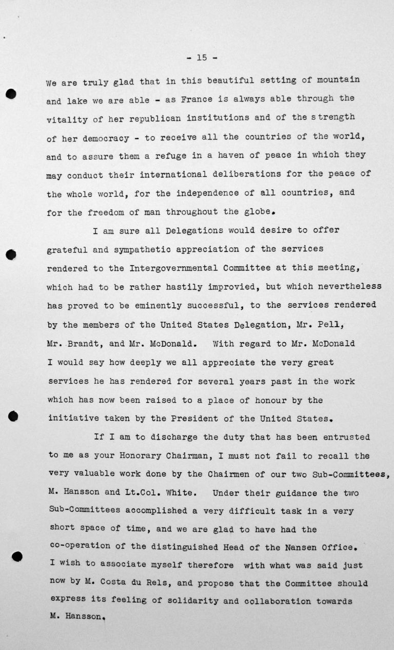 Closing Address by Henry Bérenger (France) in the public session on July 15, 1938, p. 3/6 Franklin D. Roosevelt Library, Hyde Park, NY