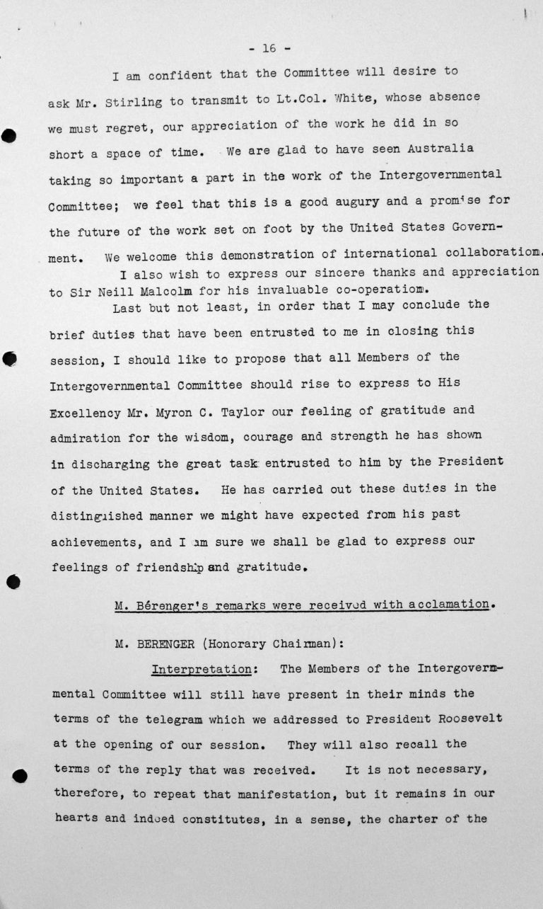 Closing Address by Henry Bérenger (France) in the public session on July 15, 1938, p. 4/6 Franklin D. Roosevelt Library, Hyde Park, NY