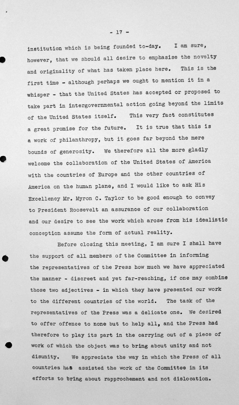 Closing Address by Henry Bérenger (France) in the public session on July 15, 1938, p. 5/6 Franklin D. Roosevelt Library, Hyde Park, NY