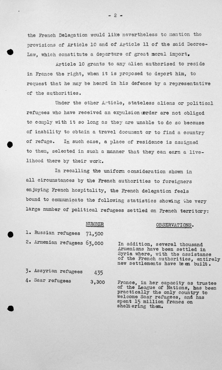 Statement of the French Delegation for the Technical Sub-Committee, July 11, 1938, p. 2/4 Franklin D. Roosevelt Library, Hyde Park, NY