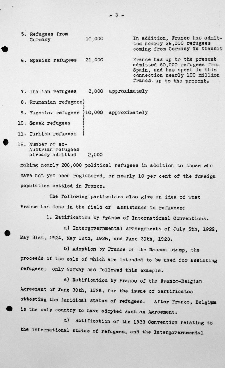 Statement of the French Delegation for the Technical Sub-Committee, July 11, 1938, p. 3/4 Franklin D. Roosevelt Library, Hyde Park, NY