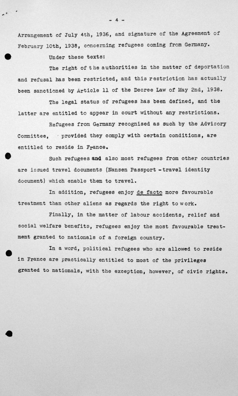 Statement of the French Delegation for the Technical Sub-Committee, July 11, 1938, p. 4/4 Franklin D. Roosevelt Library, Hyde Park, NY