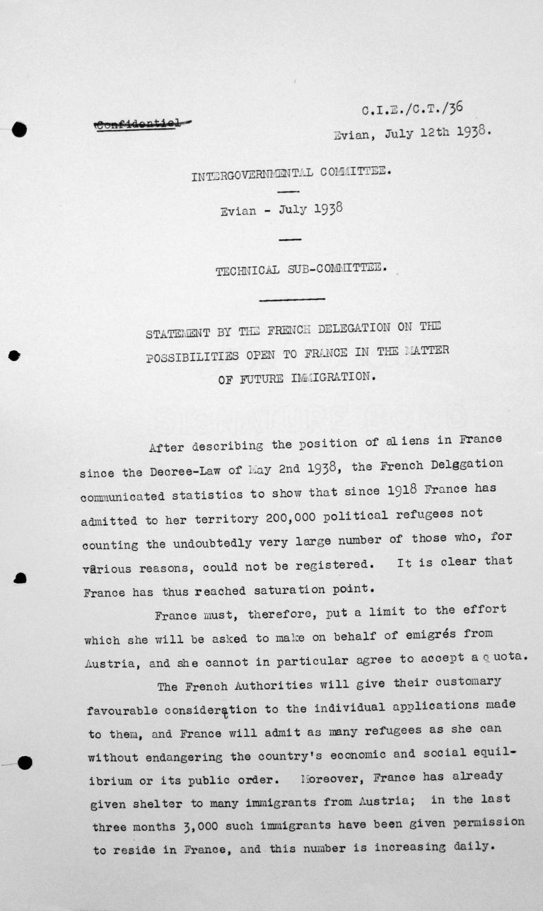Statement of the French Delegation for the Technical Sub-Committe on the possibilities open to France in the matter of future immigration, July 12, 1938 Franklin D. Roosevelt Library, Hyde Park, NY