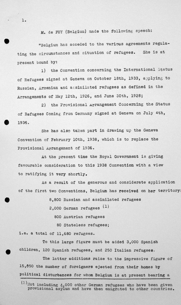 Stellungnahme von Robert de Foy (Belgien) in der öffentlichen Sitzung am 7. Juli 1938, 15.30 Uhr, S. 1/4 Franklin D. Roosevelt Library, Hyde Park, NY