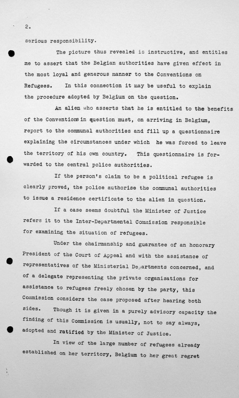 Statement by Robert de Foy (Belgium) in the public session on July 7, 1938, 3.30pm, p. 2/4 Franklin D. Roosevelt Library, Hyde Park, NY