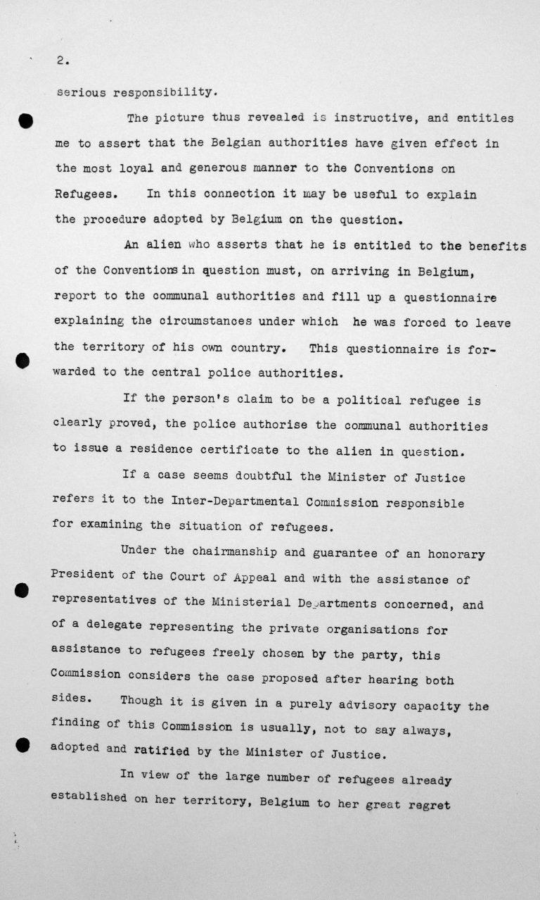 Stellungnahme von Robert de Foy (Belgien) in der öffentlichen Sitzung am 7. Juli 1938, 15.30 Uhr, S. 2/4 Franklin D. Roosevelt Library, Hyde Park, NY