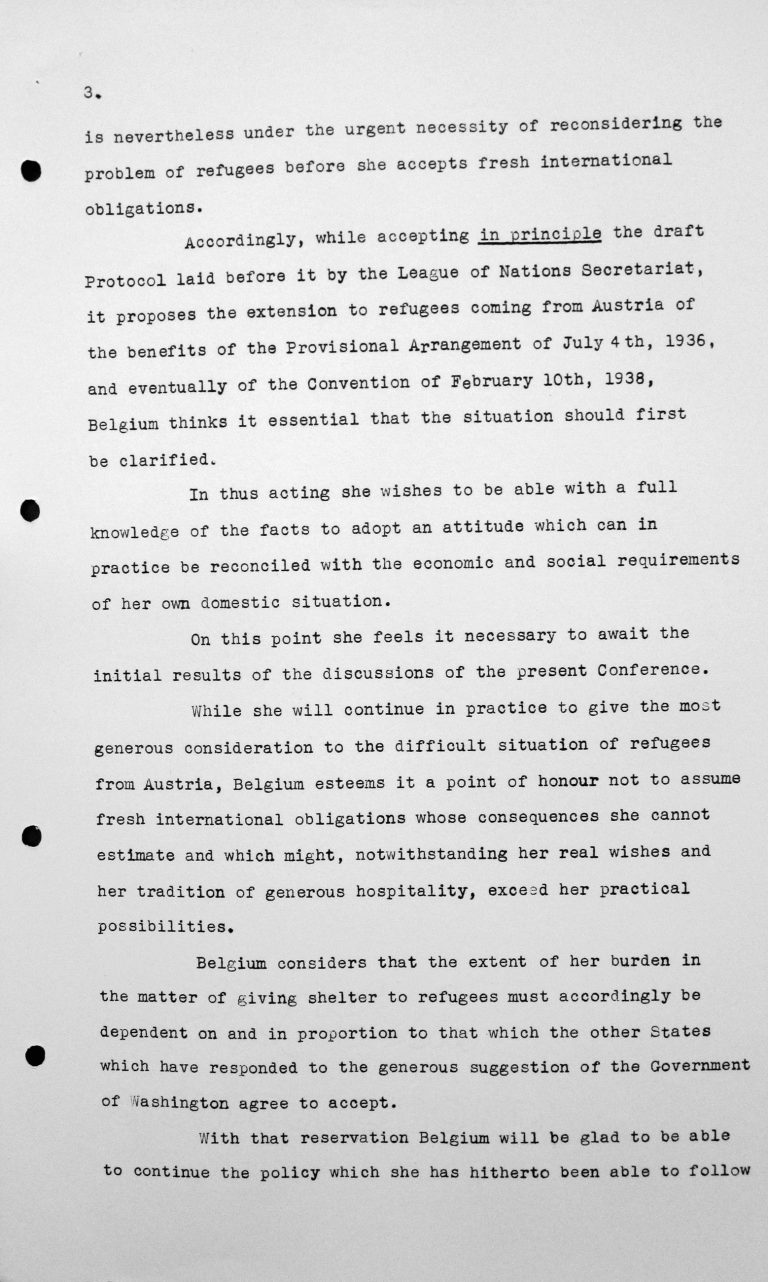 Statement by Robert de Foy (Belgium) in the public session on July 7, 1938, 3.30pm, p. 3/4 Franklin D. Roosevelt Library, Hyde Park, NY