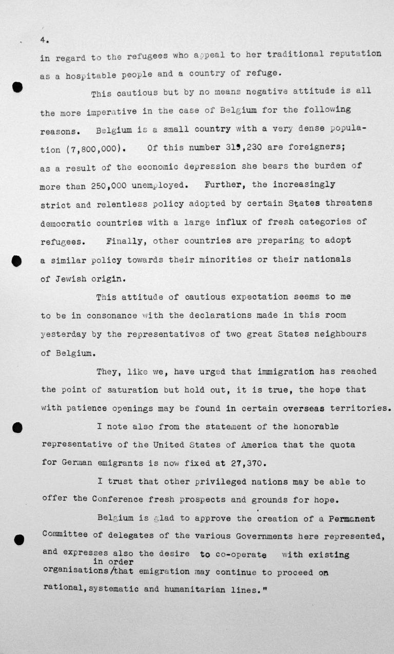 Stellungnahme von Robert de Foy (Belgien) in der öffentlichen Sitzung am 7. Juli 1938, 15.30 Uhr, S. 4/4 Franklin D. Roosevelt Library, Hyde Park, NY