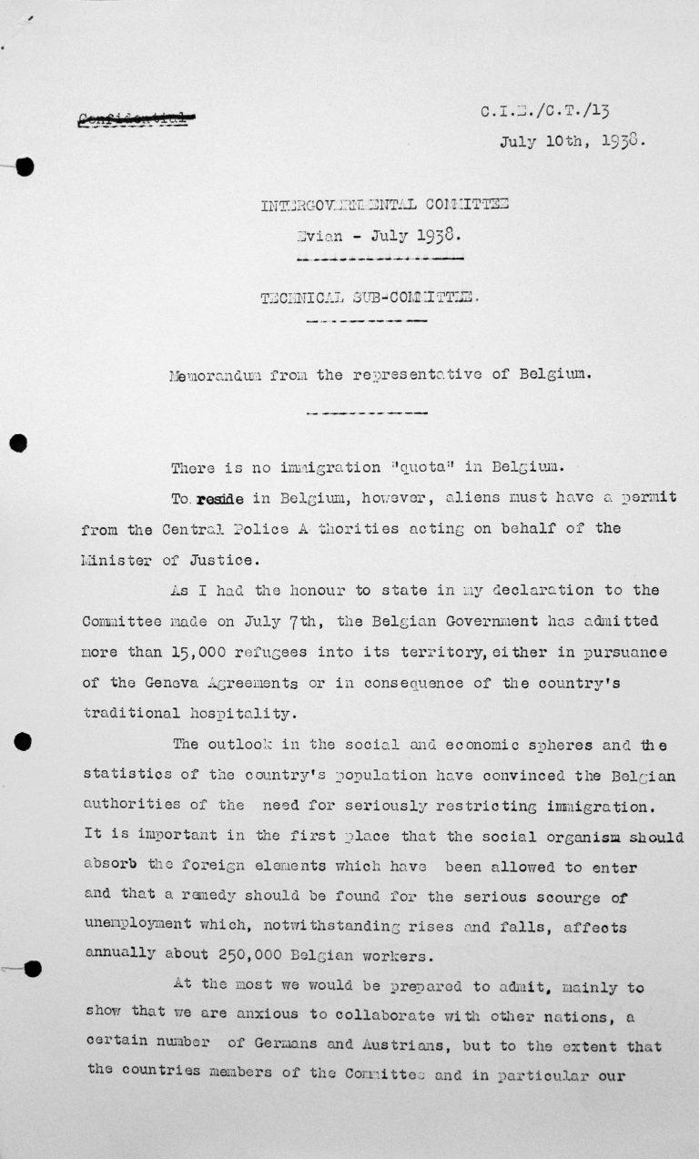 Denkschrift des Vertreters Belgiens für das Technische Unterkomitee, 10. Juli 1938, S. 1/3 Franklin D. Roosevelt Library, Hyde Park, NY