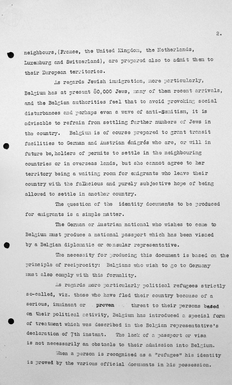 Denkschrift des Vertreters Belgiens für das Technische Unterkomitee, 10. Juli 1938, S. 2/3 Franklin D. Roosevelt Library, Hyde Park, NY