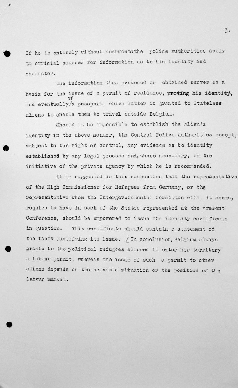 Memorandum by the representative of Belgium for the Technical Sub-Committee, July 10 1938, p. 3/3 Franklin D. Roosevelt Library, Hyde Park, NY