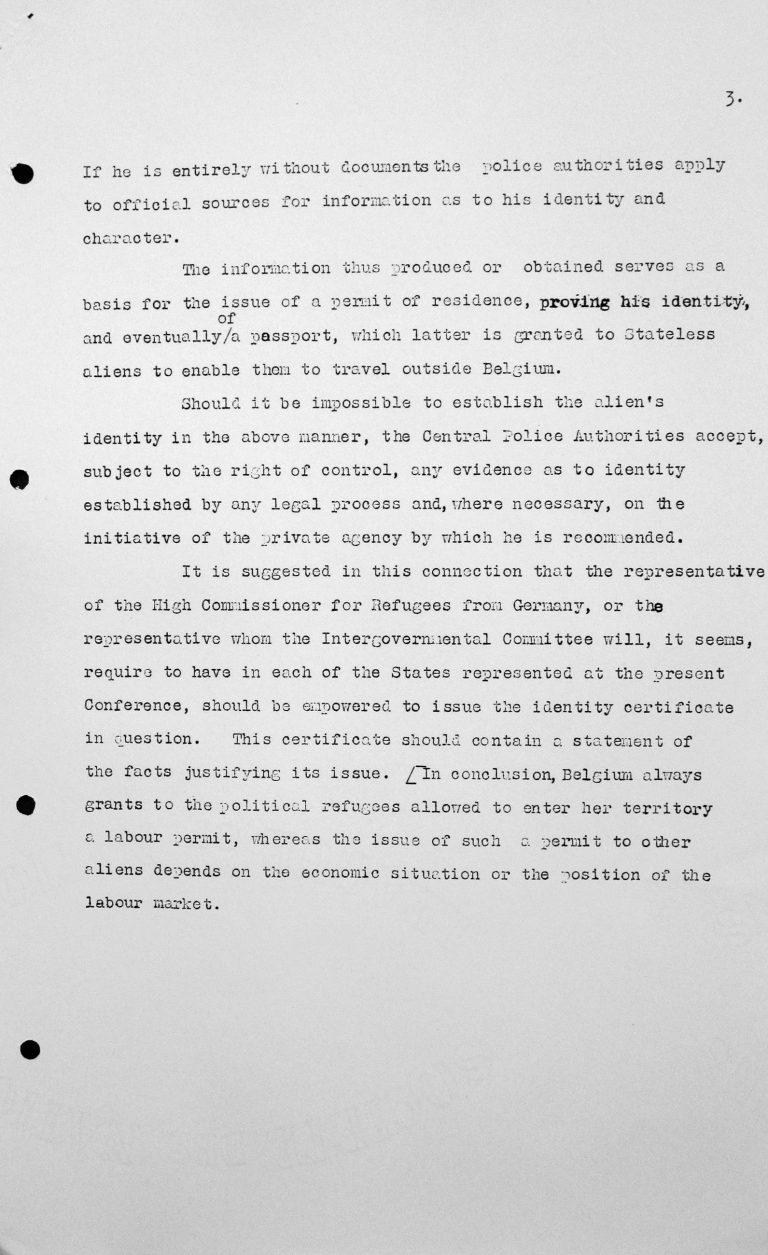 Denkschrift des Vertreters Belgiens für das Technische Unterkomitee, 10. Juli 1938, S. 3/3 Franklin D. Roosevelt Library, Hyde Park, NY