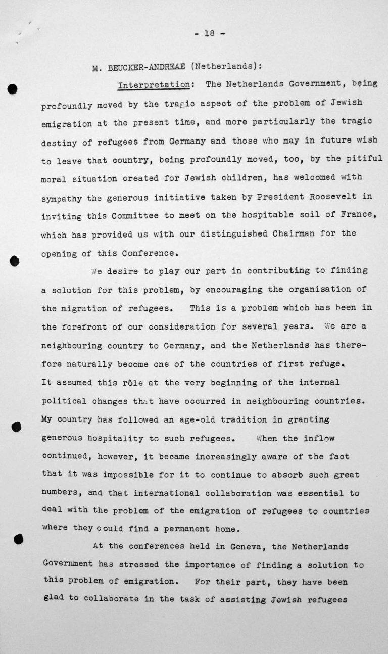 Stellungnahme von Willem C. Beucker Andreae (Niederlande) in der öffentlichen Sitzung am 7. Juli 1938, 15.30 Uhr, S. 1/3 Franklin D. Roosevelt Library, Hyde Park, NY