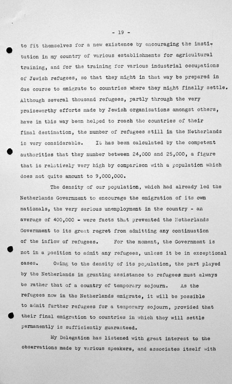 Stellungnahme von Willem C. Beucker Andreae (Niederlande) in der öffentlichen Sitzung am 7. Juli 1938, 15.30 Uhr, S. 2/3 Franklin D. Roosevelt Library, Hyde Park, NY