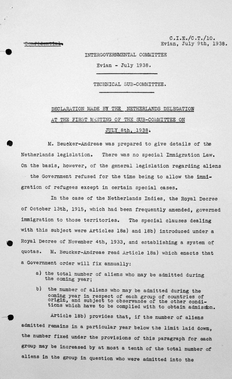 Erklärung der Delegation der Niederlande bei der ersten Sitzung des Technischen Unterkomitees am 8. Juli 1938, S. 1/2 Franklin D. Roosevelt Library, Hyde Park, NY