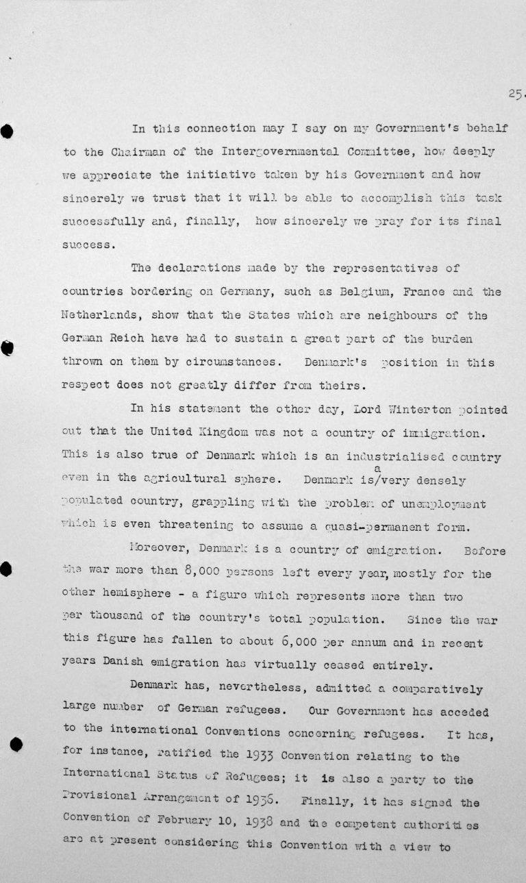Stellungnahme von Gustav Rasmussen (Dänemark) in der öffentlichen Sitzung am 9. Juli 1938, 11 Uhr, S. 2/2 Franklin D. Roosevelt Library, Hyde Park, NY